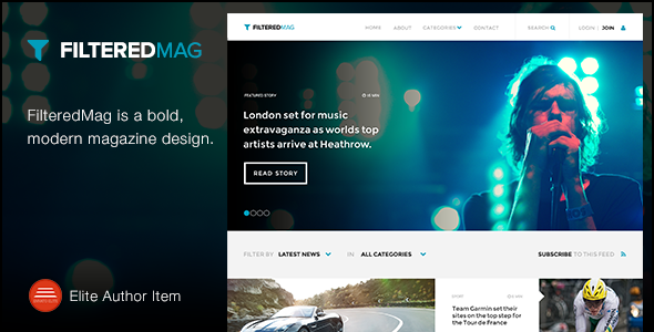 FilteredMag is a bold, modern magazine design perfect for news, magazine and blogging sites. It's clean, flat and beautiful grid based template. Features: